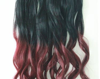 Ombre red hair extension etsy one piece dip dye clip in hair extensions ombre off black to plum red pmusecretfo Images