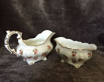 Vintage Hammersley and Co. cream and sugar pink rose set 4049E