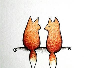 Fox art print foxes and vixen, small picture painting drawing artwork cute unique gift dog puppy love cute fox orange ginger