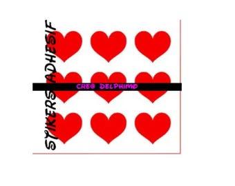 Red vinyl tape (25 X 15 CM) heart shaped X 6 Stikers