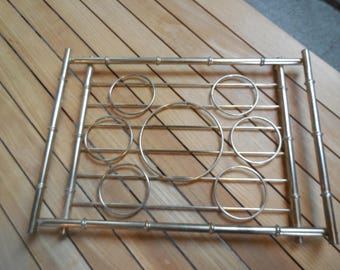 Mid Century Brass Bamboo Drink Serving Tray-Caddy
