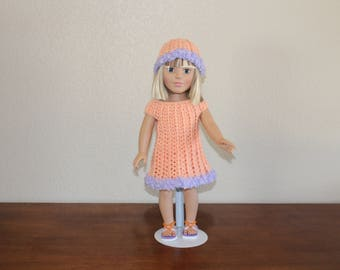 "AG orange dress with lavender trim, sandals, hat, undies, AG doll clothes, 18"" doll clothes, 18"" doll dress, 18 inch doll dress, AG sandals"
