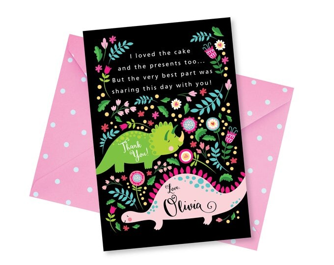 Girl's Dinosaur Thank You Card, Customized Printable DIY, Pink Dinosaur, Cute Dinosaurs