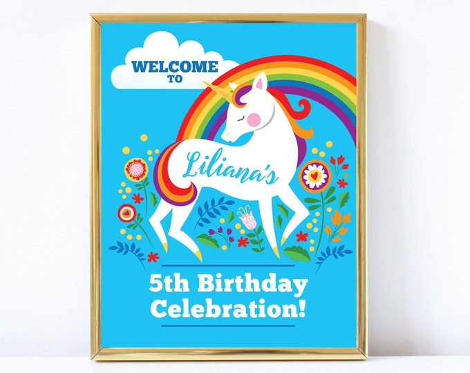 Unicorn Rainbow Welcome Sign, Printable, Customized DIY, Girls Birthday sign - rainbow floral unicorn - rainbow unicorn Party Sign