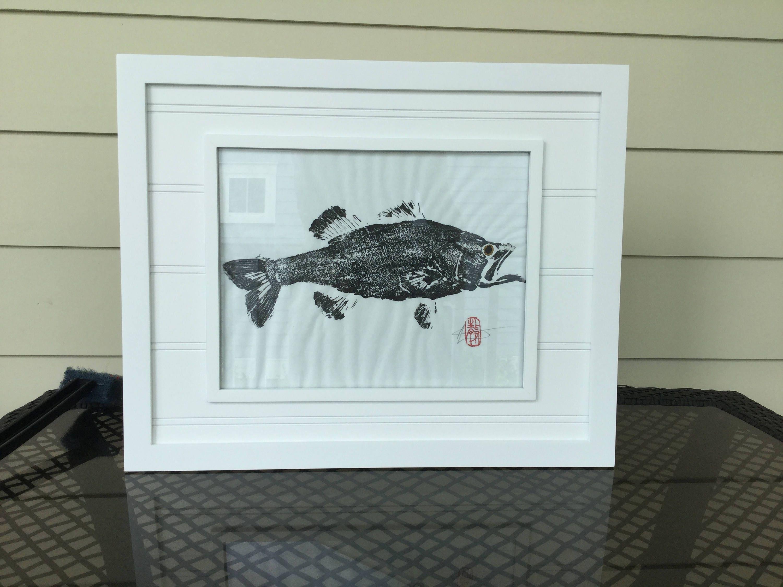 Large mouth bass/gyotaku/lake house decor/fishing gift ideas/kitchen ...