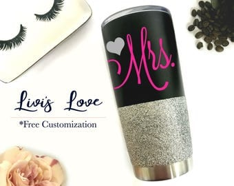 Bride Gift - Mrs. Stainless Steel Tumbler Personalized Black 20 oz Vacuum Insulated Travel Coffee to go cup coffee cup mug Glitter Wedding