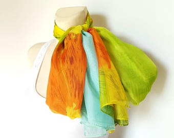 Orange Silk Scarf Green Silk Scarves for Women Scarf Silk Blue Scarf Women Scarves Spring Silk Scarf Large Gift Mom from Daughter from Son