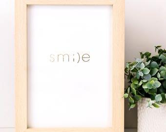 Smile Gold Foiled Print; Teen Gift; Emoji Print; Gift Under 10; Gift For Girls; Smile Print; Emoji; SMP038