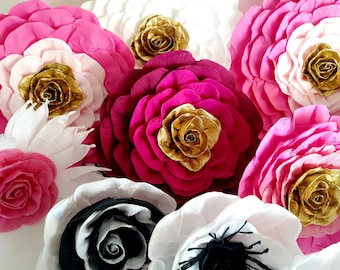 10 large Paper Flowers Giant hot Pink Gold wall decor bridal kate baby shower spade wedding Sweet 16 Princess Photo Backdrop Birthday Party