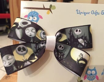 Nightmare Before Christmas Hair Bow; Jack and Sally Hair Bow