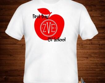 First Day of School/Monogram/apple/school