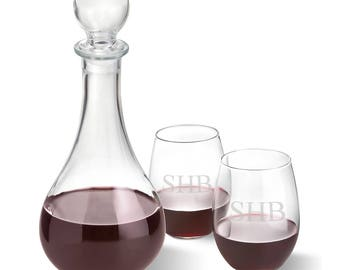 Bormioli Rocco Loto Wine Decanter with stopper and 2 Stemless Wine Glass Set - Personalized - Mancave Gift - Groomsman Gift - Men - gc1599