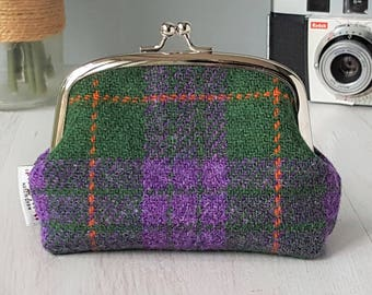 Harris Tweed small clutch purse in green, purple and orange tartan | plaid purse| metal kiss-lock coin purse frame | Gift for her