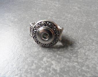 Antique silver fancy elastic snap design spiral ring