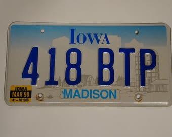 Vintage Iowa License Plate, Madison County Iowa, The Bridges of Madison County, John Wayne Birth Place Home, - FREE SHIPPING