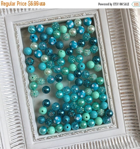 """SALE 12mm  """"Wintergreen/ Turquoise """"  {100 count}  Chunky Bubble Gum Bead Wholesale Bulk Bead Lot for Necklaces or Bracelets"""