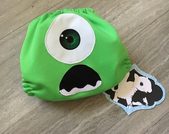 Monsters Inc, Mike Wazowski Cloth Diaper Cover or Pocket Diaper (One Size)