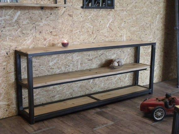 Console bois et métal au design industriel