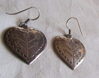 Sterling Silver Dangle Wire Heart Earrings