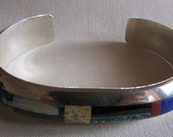 Silvertone Inlay Cuff Bracelet