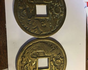 Pair of Chinese reproduction coins in brass