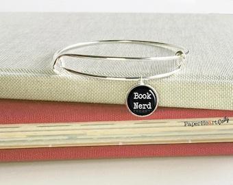 Book Nerd Charm Bracelet - Book Charm Bangle - Bookworm for Her - Book Lover Bracelet - Book Nerd Jewelry - Book Gift -  (S3304)