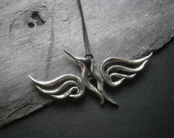 Hummingbird Spirit Totem Pendant, Pewter Bird, Abstract Bird Necklace