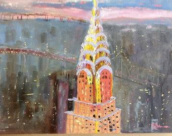 New York, Oil Painting, Sunrise Sunset Painting, Chrysler Building
