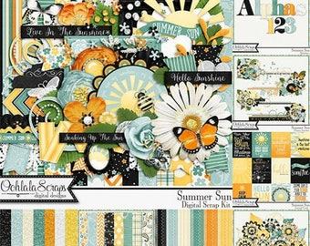 On Sale 50% Summer Sun, Digital Scrapbook Kit, Scrapbooking Elements and Embellishments, Bundle Collection