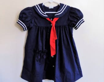 80s Sailor Dress, Girls Dress, Navy Blue, Red, White, Nautical, Bryan, Girls Size 4, Patriotic, Navy, Kids Vintage Clothing