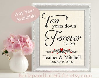 10, 10 Year Anniversary, 10 Years Together, Personalized Print, Ten Year Anniversary Gift for Him, Gift for Her, Gift for Husband (208)
