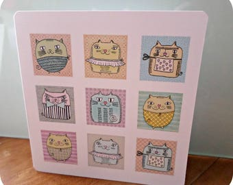 Original 9 cats greeting card handmade 15cm x 15cm