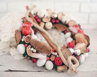 Christmas wreath, Front door decoration, Home Decor, Rustic Wreath, Farmhouse Wreath, Natural wreath,Winter Wreath,Christmas wall decoration