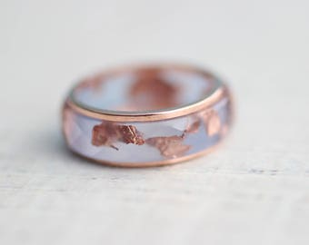 Resin&Copper Ring Set  Copper and Resin Ring Set Copper Flakes Aquamarine Ring