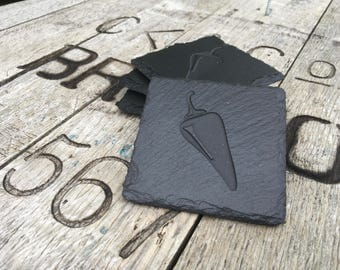 Red Hot Chilli Slate Coasters set of 4 by Scottish Slate Gift