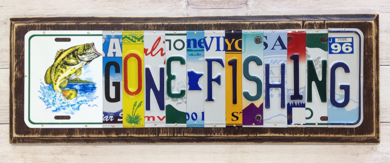 Gone Fishing License Plate Art - Gift for Him - Fisherman Art ...