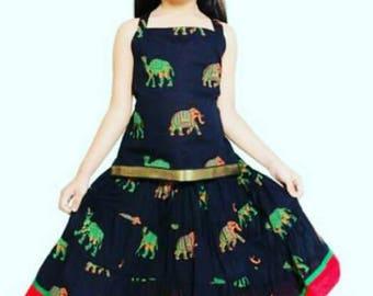 Indian Traditional Top and Skirt Set for Girls - Lehanga Choli