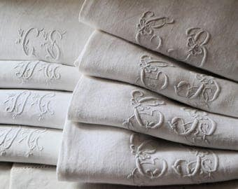 8 Antique french linen napkins , different monograms , 1870s
