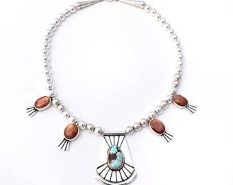 Royston Turquoise, Sunstone, and Sterling Modern Silver Squash Blossom Necklace