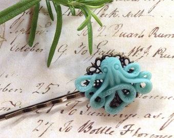 Light Blue Octopus Hair Clip