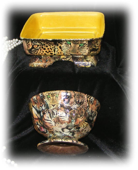 Two Beautiful JUNGLE CATS PLANTERS . . . custom decoupaged