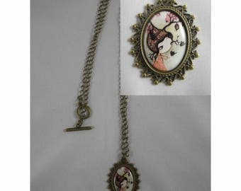 Col043 - Necklace / bronze necklace and cabochon girl and branch