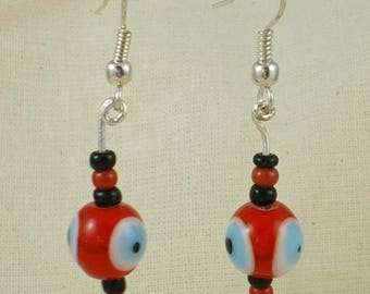 Boucles096 - Red, black and blue earrings