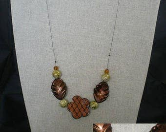 Parure010 - Set green and Brown (necklace + earrings)