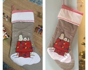 Snoopy Doghouse Quilted Christmas Stocking- Personalized