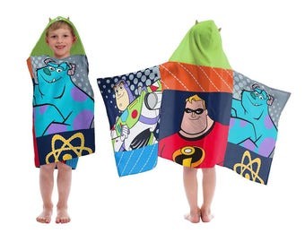Buzz Lightyear, Mr. Incredible, Sulley Hooded Towel wrap Toddler beach towel - Personalized