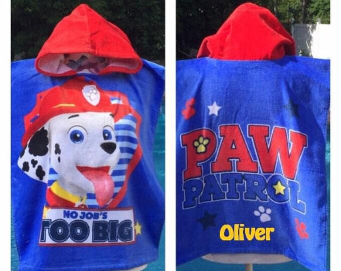 Paw Patrol Hooded Towel Poncho Bath Beach or Pool Towel - Personalized