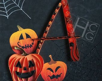 Halloween Monogram: Custom, Quilling, Art, Home Decor, Gift