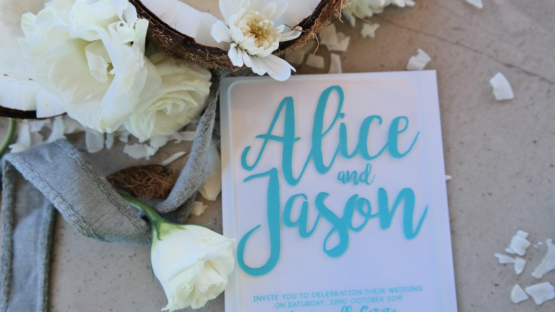Teal on Acrylic Wedding invitation