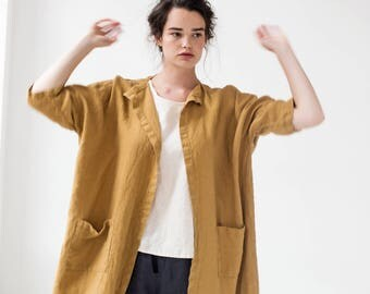 Washed oversized long linen kimono in amber yellow / Linen cardigan/ Linen jacket